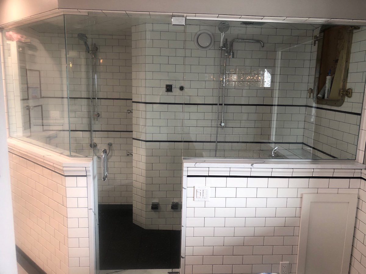 Double shower front view