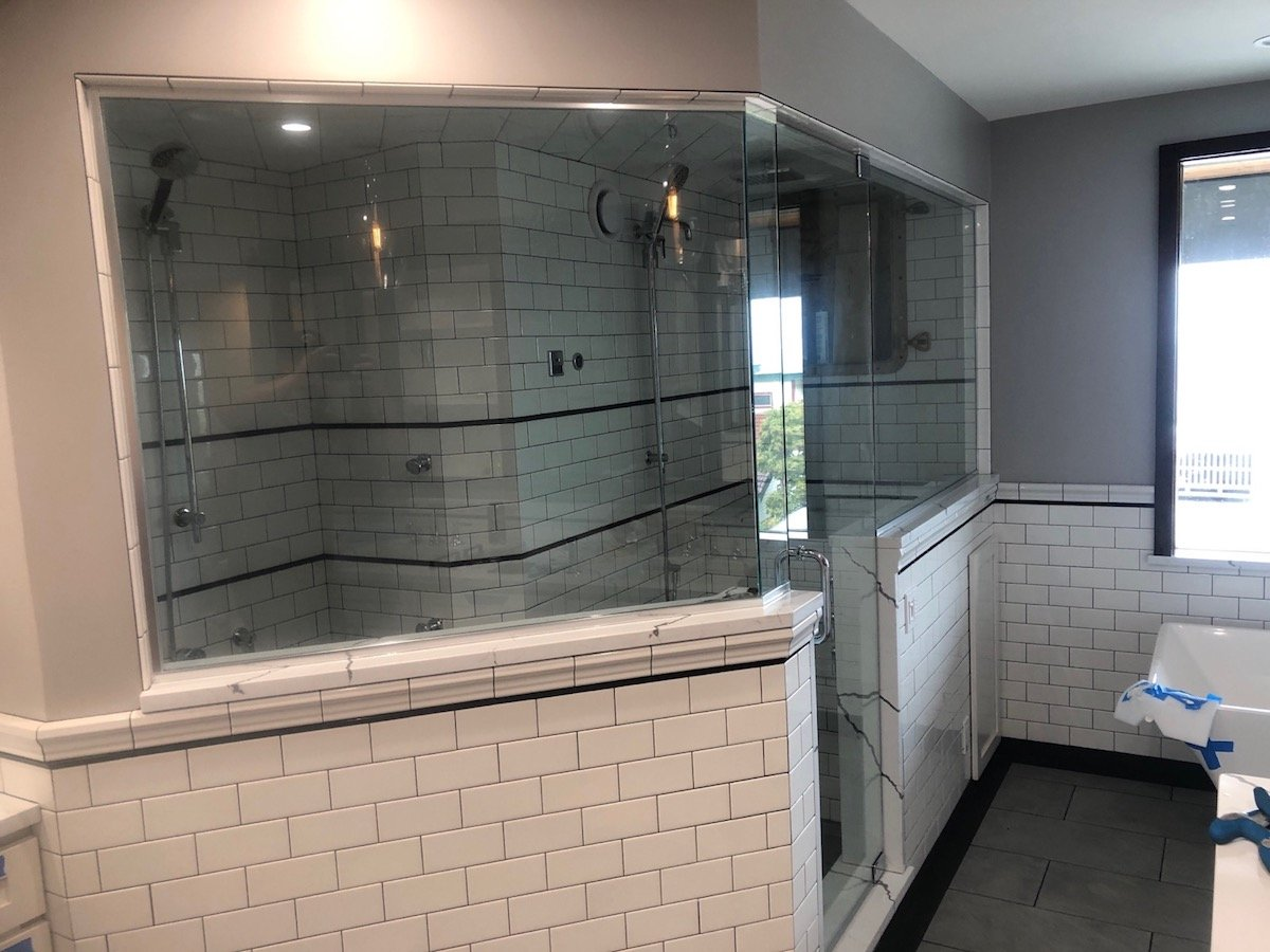 Double shower side view